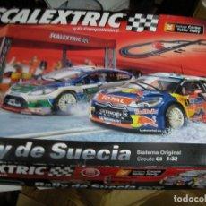 Scalextric: GRAN CIRCUITO SCALEXTRIC RALLY DE SUECIA CON VEHICULOS CITROEN DS3 WRC Y FORD FIESTA Y CARPA TALLER . Lote 145363454