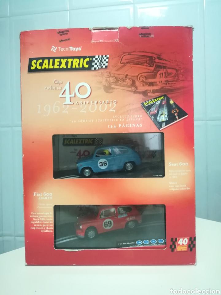 CAJA 40 ANIVERSARIO SCALEXTRIC - 2 COCHES + LIBRO - ABARTH - SEAT 600 - (Juguetes - Slot Cars - Scalextric Tecnitoys)