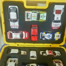 Scalextric: LOTE 01 MALETÍN SCALEXTRIC RALLIES MÍTICOS + 12 COCHES MÍTICOS. Lote 191428335