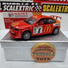 Scalextric: SEAT LEON (MC DONALD'S) #8 SCALEXTRIC CON LUCES!!! CERTIFICADO DE EDICION LIMITADA.. Lote 225298340