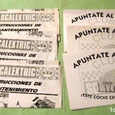 Scalextric: SCALEXTRIC EXIN ORIGINAL: LOTE INSTRCCIONES DE MANTENIMEINTO Y APUNTATE AL CLUB. MUY BUEN ESTADO. Lote 93817155