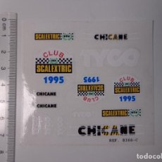 Scalextric: PLIEGO COMPLETO PEGATINAS ORIGINAL CLUB SCALEXTRIC TYCO AÑO 1995, DEL PORSCHE 959 NARANJA, NUEVO. Lote 155173826