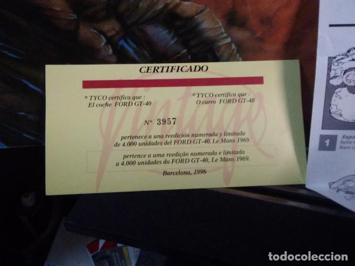 Scalextric: Certificado tyco Ford GT-40 + boletín inscripción clup SCALEXTRIC +INSTRUCCIONES - Foto 2 - 205237212