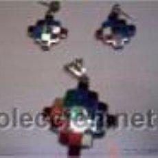 Segunda Mano: CONJUNTO EN PLATA 950MMG PUREZA CON CONCHAS NACARADAS (SPONDYLUS). AÑO 1996. Lote 36500996