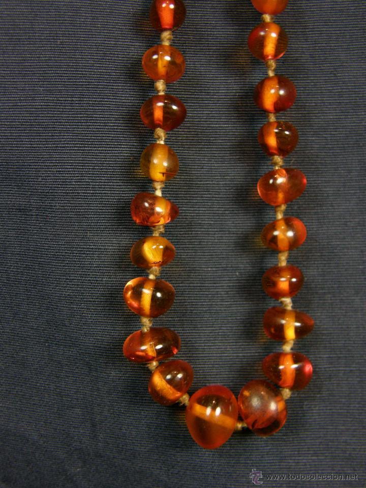 Segunda Mano: collar ambar cuentas claras esféricas irregulares en disminución 1º mitad siglo XX largo cerrado26cm - Foto 8 - 44388287