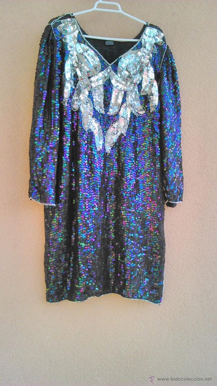 Segunda Mano: Precioso vestido de fiesta estilo vintage,completamente de lentejuelas.Made in India.Talla 40 - Foto 2 - 46000879