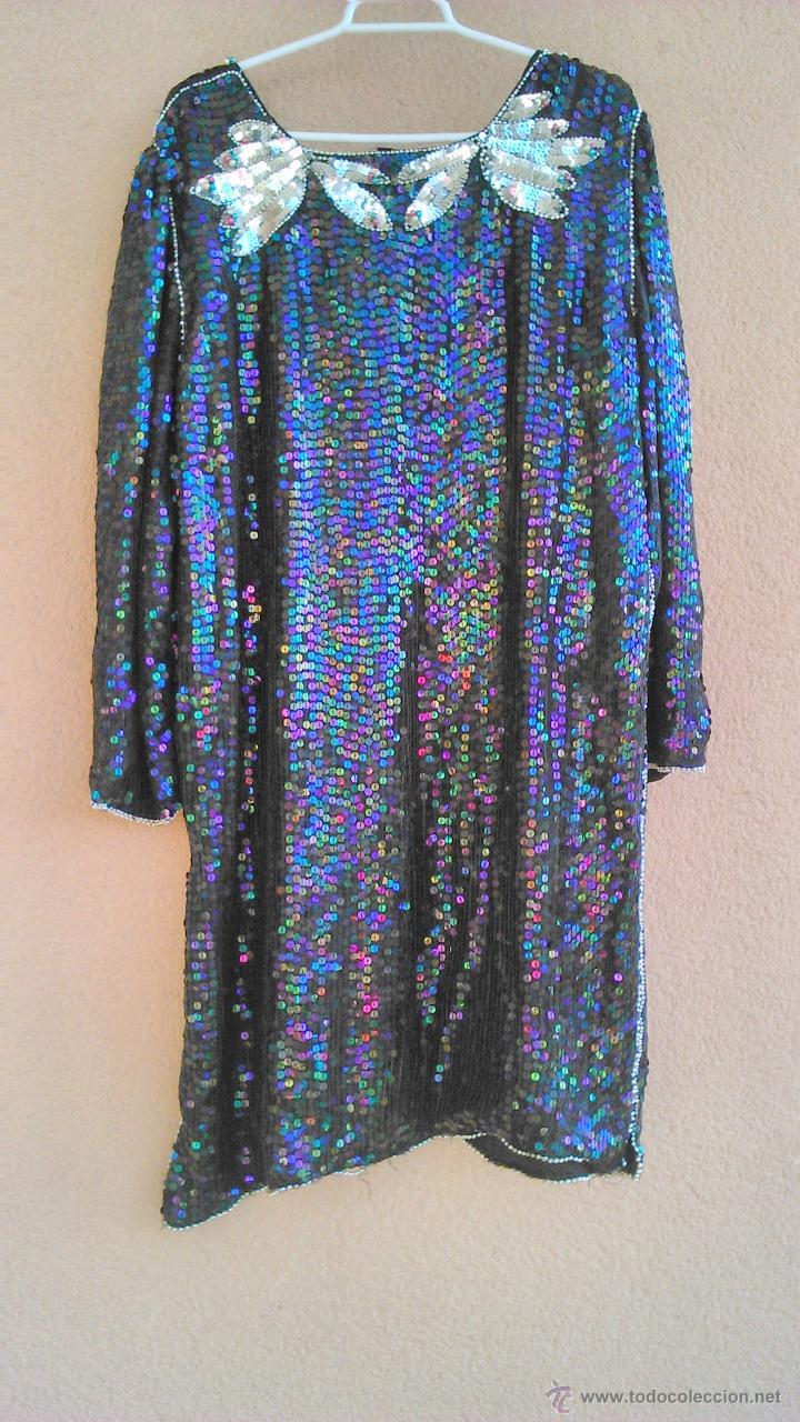 Segunda Mano: Precioso vestido de fiesta estilo vintage,completamente de lentejuelas.Made in India.Talla 40 - Foto 6 - 46000879