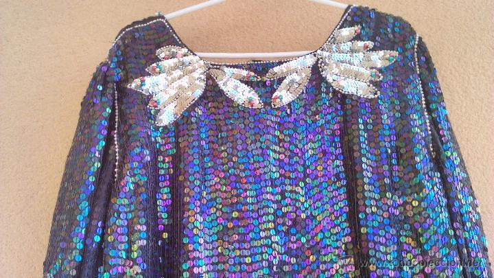 Segunda Mano: Precioso vestido de fiesta estilo vintage,completamente de lentejuelas.Made in India.Talla 40 - Foto 7 - 46000879
