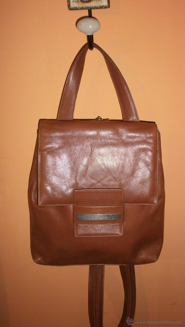 mochila marróncamel de larga Bolso mano VICOSTA cremallera Asa piel y con asa SqEZd