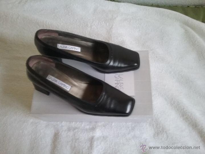 Y Ropa Comprar Xoiutzpk Camino Piel Color Zapatos Negros Laura Tacón En 3jL54AR