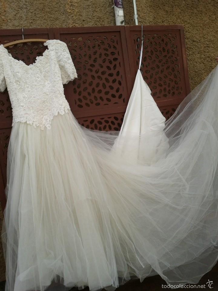vestido de novia, cuerpo cristalitos y perlas - comprar ropa y