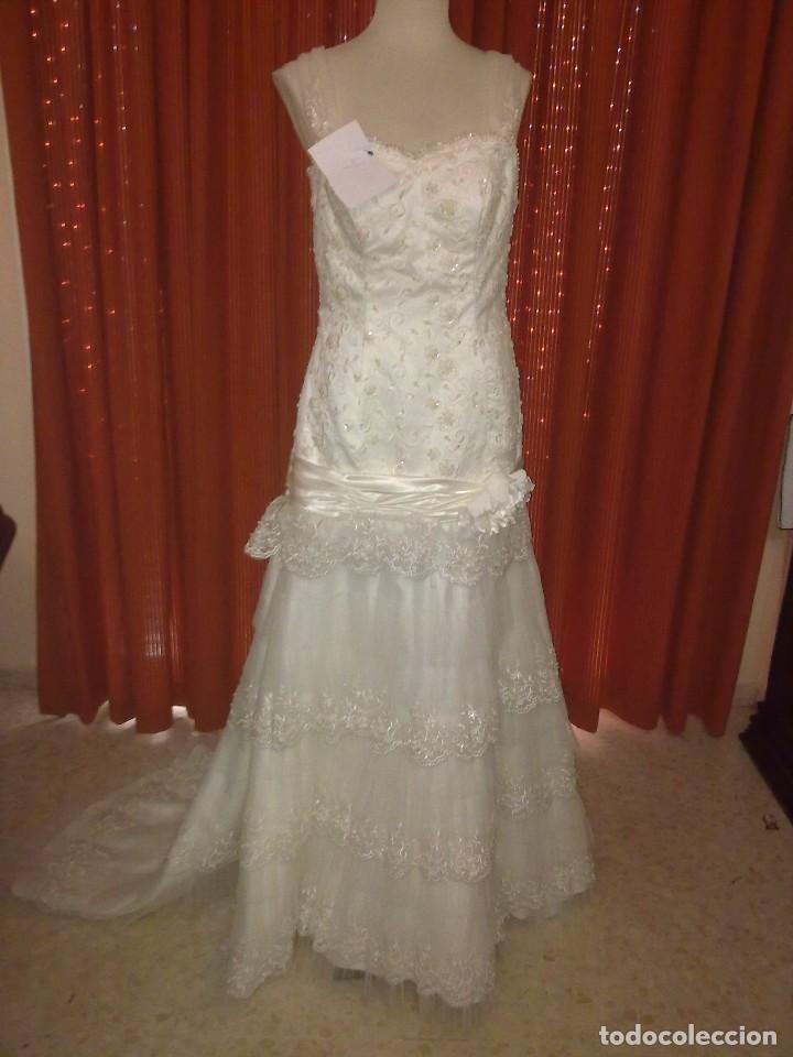 vestido de novia. pedrería, volante plisado y e - comprar ropa y
