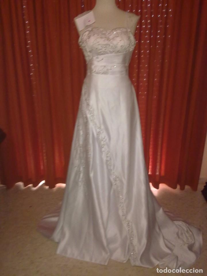 vestido de novia. blanco. bordado en gris plata - comprar ropa y
