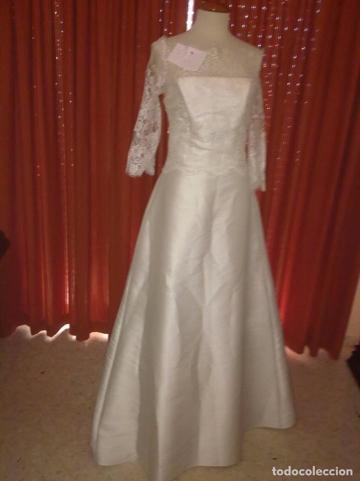 vestido de novia. blanco roto. media manga de e - comprar ropa y