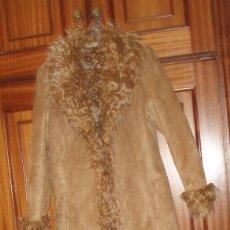 Segunda Mano: ABRIGO DE ANTE LARGO FORRADO COLOR MARRON. Lote 91966550
