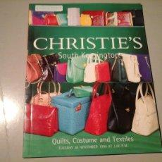 Segunda Mano: CHRISTIE'S SOUTH KENSINGTON. QUILTS, COSTUME, TEXTILES. NOVEMBER 1999. INCLUYE REMATES. MODA. . Lote 103238971