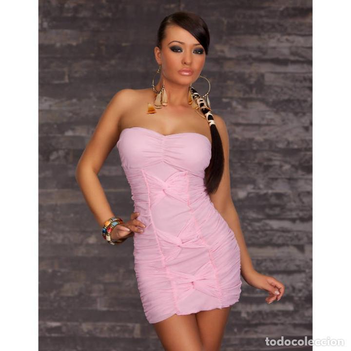 vestido de fiesta bandeau rosa claro - Comprar ropa y complementos ...