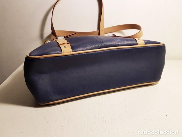Segunda Mano: Bolso de hombro El Potro, piel de Ubrique. Azul y beige. - Foto 4 - 156010434