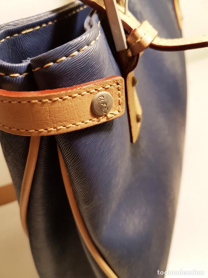 Segunda Mano: Bolso de hombro El Potro, piel de Ubrique. Azul y beige. - Foto 9 - 156010434