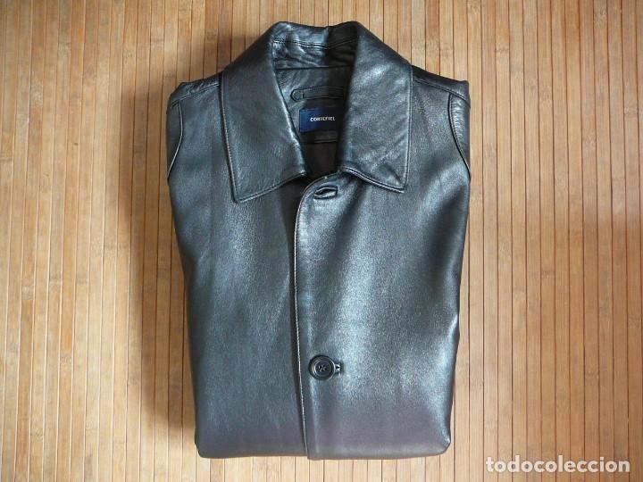 Cazadora de cuero negro Abrigo tres cuartos Cortefiel. 48 Talla M. Piel  Ovino