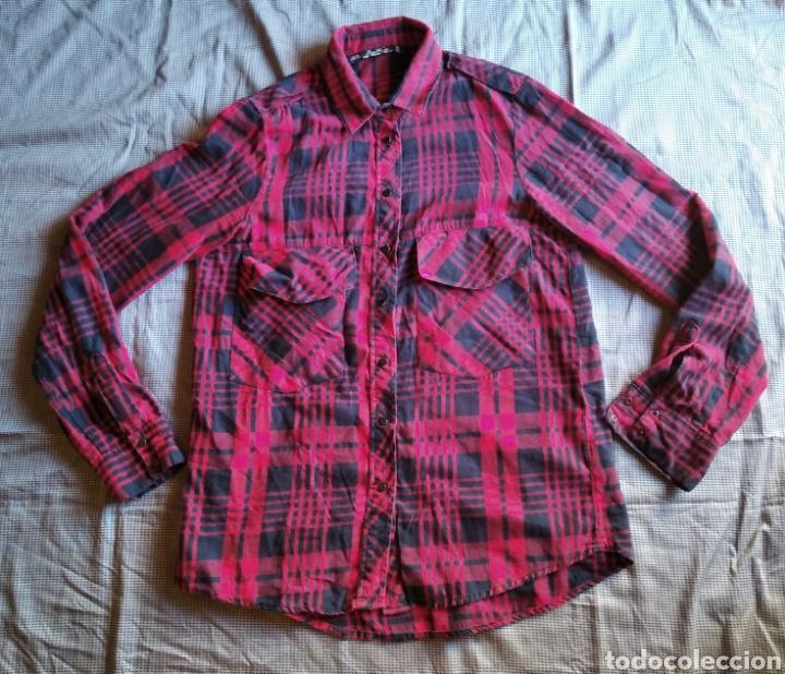 Camisa Zara mujer talla s roja cuadros segunda mano