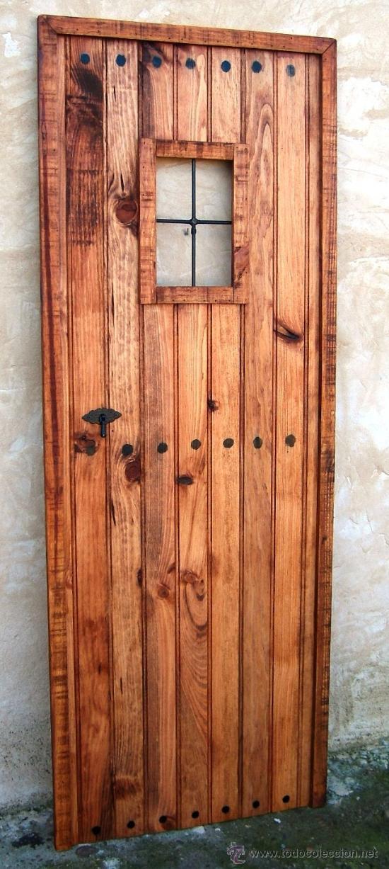 Puerta de madera rustica con ventanuco de pue comprar for Puertas de madera exterior de segunda mano