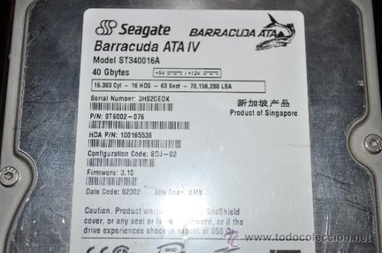 DISCO DURO INTERNO DE 3.5 SEAGATE BARRACUDA 40 GB ATA. FUNCIONA PERFECTAMENTE (Segunda Mano - Artículos de electrónica)