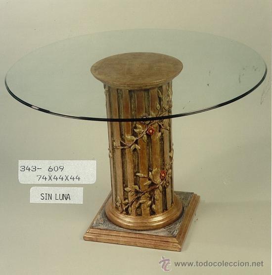 Columna de madera mesa con cristal comprar en for Mesa cristal segunda mano