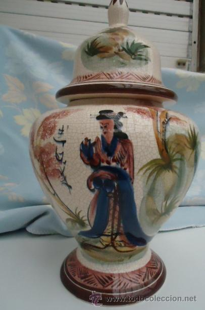 PRECIOSO TIBOT CON TAPA.GRANDE EN LOZA DE ALCOBAÇA, PORTUGAL PINTADA A MANO 1985 (Segunda Mano - Hogar y decoración)