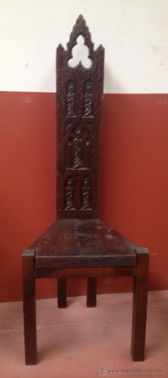 Silla de madera tallada 12 apostoles comprar art culos for Sillas madera segunda mano