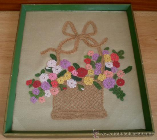 Cuadro Con Pieza De Ganchillo Cesta Con Flores Comprar