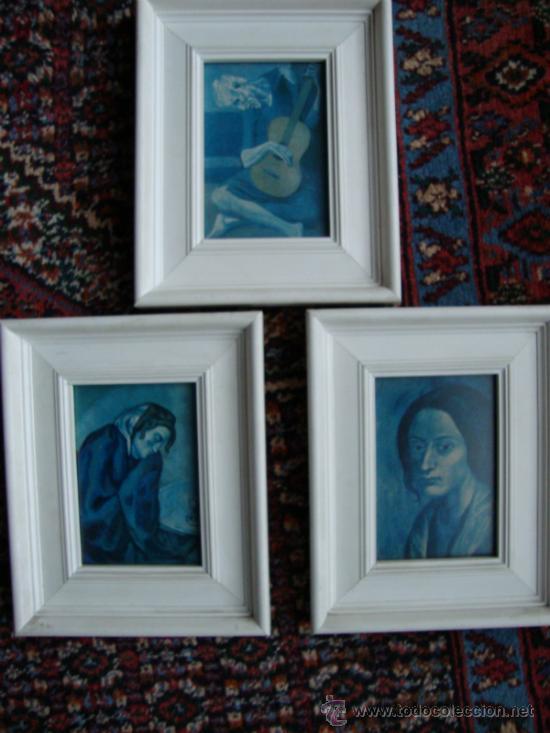 3 marcos blancos con pinturas picasso epoca azu - Comprar artículos ...