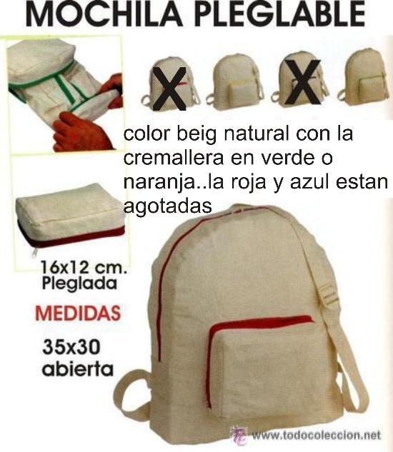 3db8ed859 BOLSA MOCHILA PLEGABLE EN ALGODON 100% COLOR CRUDO (Segunda Mano - Otros)  ...