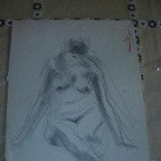 Segunda Mano: DESNUDO FEMENINO A LÁPIZ U CERA (47). Lote 39293758