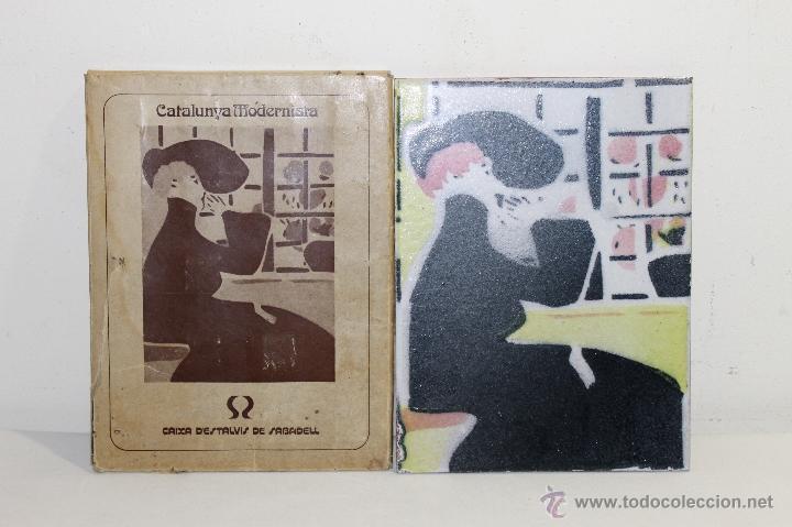 BALDOSA ESMALTADA A MANO, INSPIRADA EN LA OBRA DEL PINTOR XAVIER GOSÉ - AÑO: 1980 (Segunda Mano - Hogar y decoración)