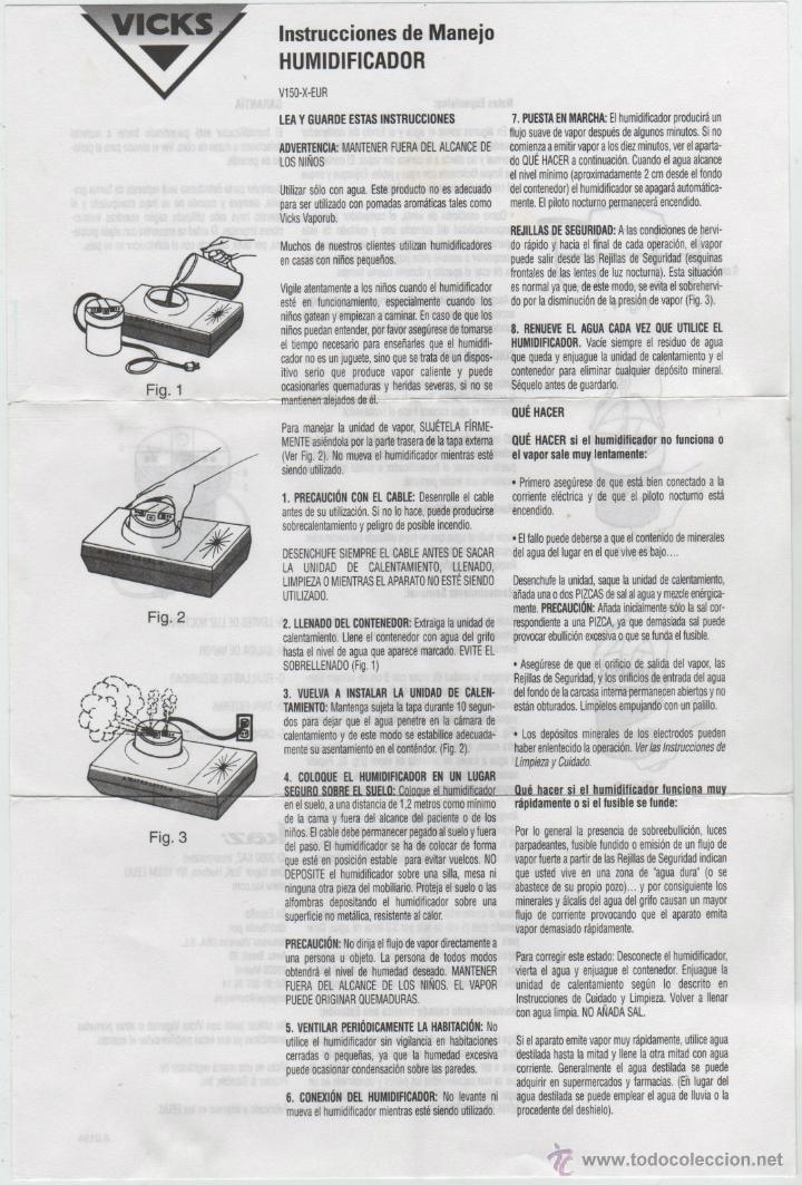 Segunda Mano: HUMIDIFICADOR DE VAPOR VICKS. - Foto 8 - 105197266
