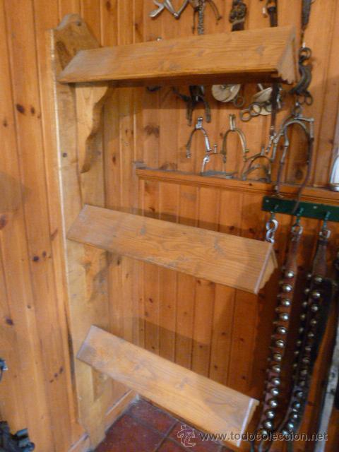 Monturero para 3 sillas de montar en madera comprar en for Sillas madera segunda mano