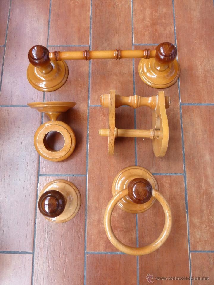 Juego accesorios ba o de madera comprar art culos de for Juego accesorios bano