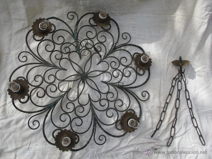 Bonita l mpara de hierro forjado comprar art culos de segunda mano de hogar y decoraci n en - Colgadores de hierro forjado ...