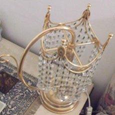 Segunda Mano: LAMPARA DE SOBREMESA METAL DORADO Y CUENTAS DE CRISTAL AÑOS 80. Lote 45562941