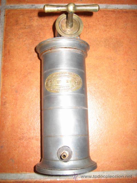 Segunda Mano: Antiguo depósito de lavativa metálico E.Irrigareur syst Doctor EGUISIER Nº 2 Frances. - Foto 3 - 45767124