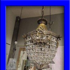 Segunda Mano: LAMPARA GLOBO FAROL DE CRISTAL Y BRONCE ENVEJECIDO ALTURA 40 CM. Lote 91291520