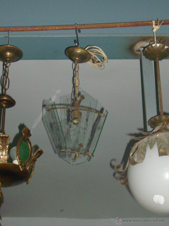 FINA LAMPARA BRONCE CRISTAL TALLADO (Segunda Mano - Hogar y decoración)