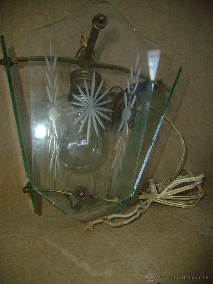 Segunda Mano: Fina Lampara Bronce Cristal Tallado - Foto 2 - 46249312