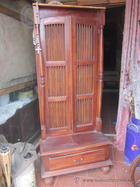 Mueble de entrada indio en madera de teka con comprar art culos de segunda mano de hogar y - Decoracion segunda mano ...