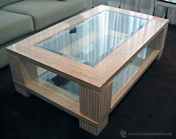 Mesa de centro de m rmol travertino y vidrio comprar art culos de segunda mano de hogar y - Reciclar marmol ...