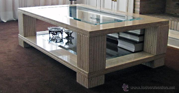 Mesa de centro de m rmol travertino y vidrio comprar - Mesas de marmol y cristal ...