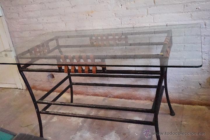 mesa comedor en forja color negro con tiras de - Comprar artículos ...