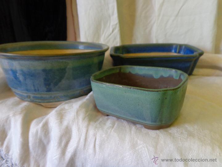 3 macetas esmaltadas para bonsai -- aprox. son - comprar artículos