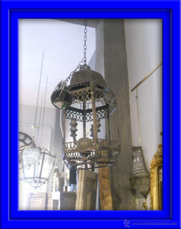 FAROL O LAMPARA DE METAL ENVEJECIDO (Segunda Mano - Hogar y decoración)